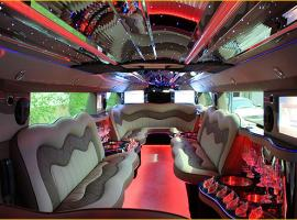 Comfortable sitting in the limousine with interesting lights inviting for partyi