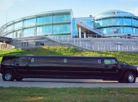 Outside of black hummer limo